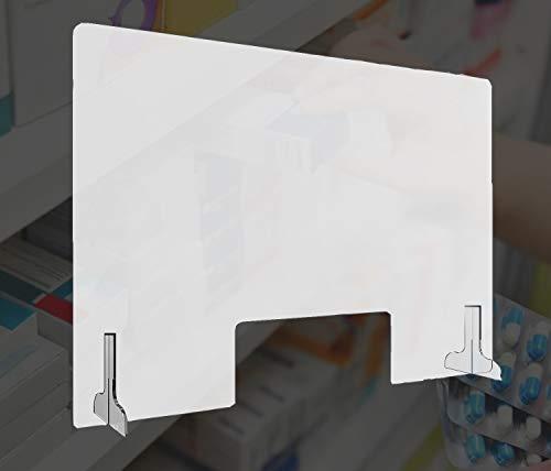 HORO.ES Mampara de Protección Metacrilato Transparante 3MM Grosor con Soporte (80 x 60CM)
