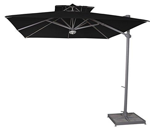 PEGANE Parasol déporté carré Noir Anti-UV 300x300cm