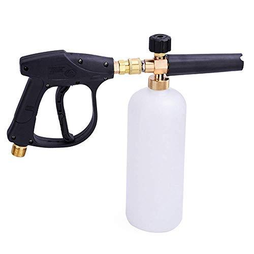 Snow Foam Lance Foam Gun Car Wash Snow Foam Bottle High Pressure Washer Foam 1L Adjustable Nozzle Soap Dispenser 1/4' Quick Release (with Foam Lance Gun)