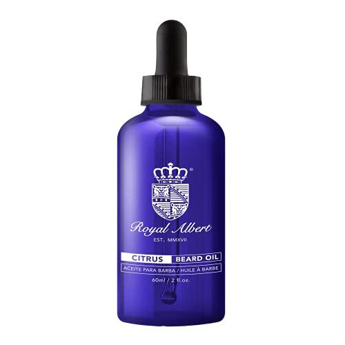 Royal Albert - Aceite para Barba CITRUS (Bergamota-Limón) - Libre de Sulfatos, Parabenos y Alcohol - Con Aceite de Argan, Bergamota, Jojoba, Melaleuca y Vitamina E, Aceites Esenciales - Acondicionador de Barba - Humectante para Barba - Hidrata - Evita Com - Azul - 60ml