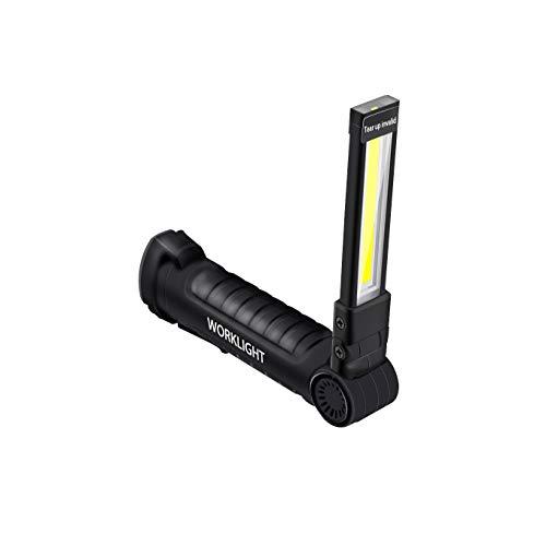 Wovatech Luz de trabajo recargable USB - Mini antorcha LED plegable portátil Linterna COB súper brillante - Antorcha impermeable para acampar al aire libre con base magnética y gancho