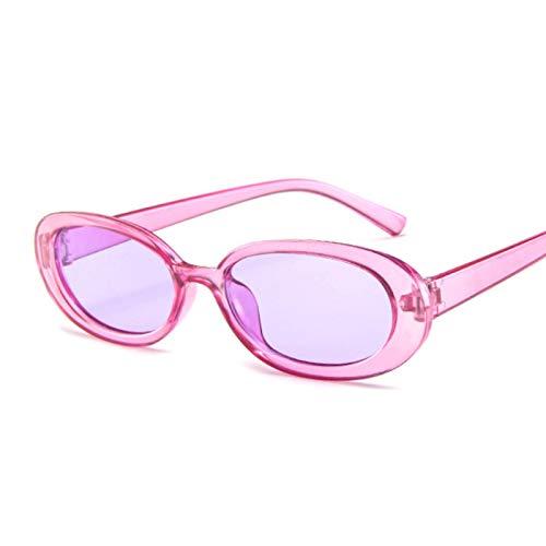 Gafas de Sol Sunglasses Gafas De Sol Ovaladas De Estilo para Mujer, Montura Redonda Retro Vintage, Gafas De Sol Blancas para Hombre, Gafas Transparentes De Hip Hop Negras