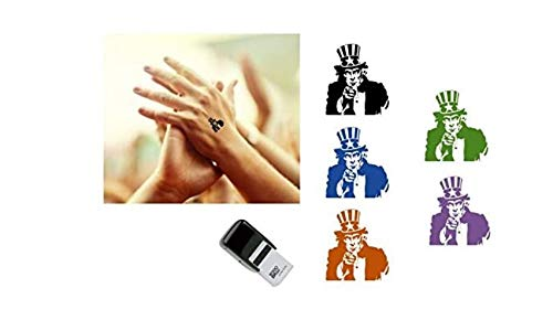 Uncle SAM Hand Stamp - Suitable for Festivals, Parties, Clubs, Special Events, Bars etc. (Blue)