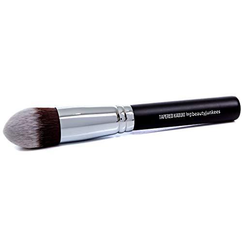 Lot de pinceaux de maquillage Kabuki : comprend fond de teint, blush, poudre bronzante, correcteur, pinceaux minéraux noir 1 PC TAPERED KABUKI