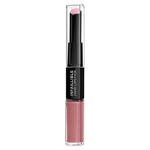 L'Oreal Paris Lippen Make-up Infaillible Lippenstift, 110 Timeless Rose /Liquid Lipstick für 24 Stunden volle Lippen mit feuchtigkeitsspendendem Lippenpflege - Balsam, 1er Pack