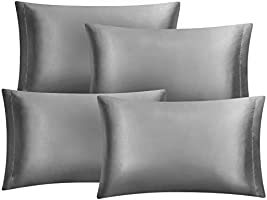 Hansleep 4 Pack Satin Pillow Cases for Hair and Skin with Envelope Closure - 50 x 75 cm