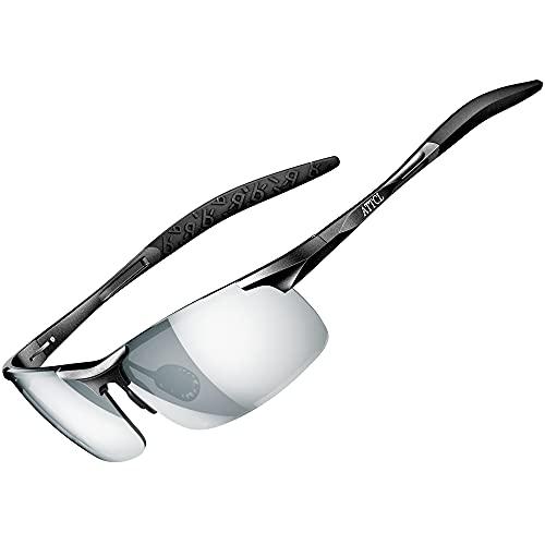 ATTCL HOT Fashion Driving Polarized Sunglasses for Men Al-Mg metal Frame (Black-Silver,...