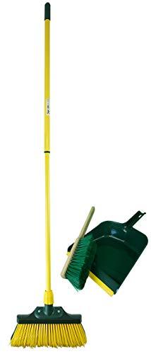 Novaliv klauwbezem set 30 cm hout met telescoopsteel gebogen borstelharen met veeggarnituur tuinbezem wegbezem veegbezem 30 cm geel/groen.