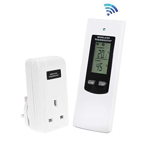 Kabellose Fernbedienung für Thermostat, UK-Anschluss, elektrische Heizung und Kühlung, Temperatursteuerung, Weiß,RF433MHz