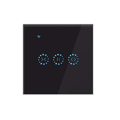 Tiamu Interruptor de presión wifi para persianas, persianas, cortina, interruptor Alexa, color negro
