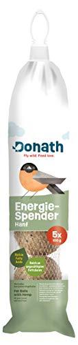 Donath Energie-Spender Hanf - 5 Meisenknödel im praktischen Spender zum Aufhängen (5x100g) - wertvolles Ganzjahres Wildvogelfutter - aus unserer Manufaktur in Süddeutschland