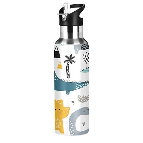 Botellas De Agua Acero Inoxidable Con Pajita Marca ALAZA