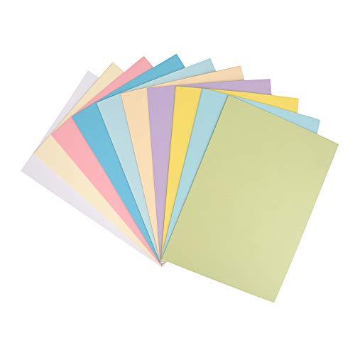 ewtshop® Foto-Karton in tollen Pastelltönen, 50 Blatt, 10 Verschiedene Pastell Farben, Bastelpapier
