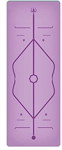 LSLS Esterilla De Yoga Mats de Yoga de Goma Natural de 5 mm, Alfombra de Fitness de Yoga con Correa Esterilla Fitness (Color : Black)