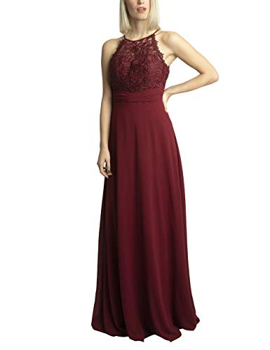 APART Bezauberndes Damen Kleid lang, Abendkleid, Ballkleid, transparente Spitze teilweise Blickdicht unterlegt, Empire Style, rot, 38