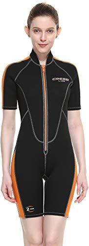 Cressi Lido Lady Combinaison de plongée en néoprène Ultra Stretch 2 mm pour la Natation et Les Sports Aquatiques Femme, Noir Orange, XXXL