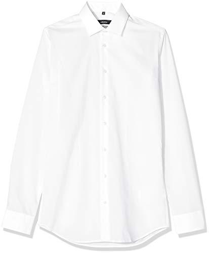 Seidensticker Herren Business Hemd X-Slim Fit – Bügelfreies, sehr schmales Hemd mit Kent-Kragen – Extra langer Arm – 100% Baumwolle, Weiß (Weiß 1), Small (Herstellergröße: 38)