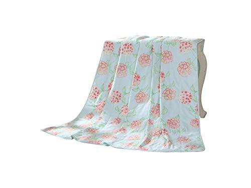 Eastery Fjxlz zomerdekbed, katoenprinten, eenpersoons, dubbellaags, klimaatregulerend gewatteerd, 150 x 200 cm, eenvoudige stijl, zacht en comfortabel opvouwbaar, cool deken, afmetingen 200 x 230 cm