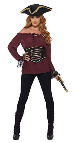 Smiffys Shirt, Ladies Deluxe-Camiseta pirata para mujer, color rosso, M-UK Size 12-14 (47357M)