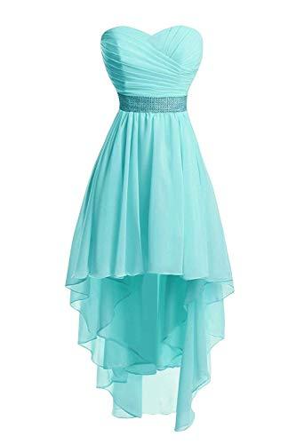 JAEDEN Ballkleider Damen Brautjungfernkleid Hochzeit Partykleid Herzausschnitt Abendkleid Vorne Kurz Hinten Lang Türkis EUR34