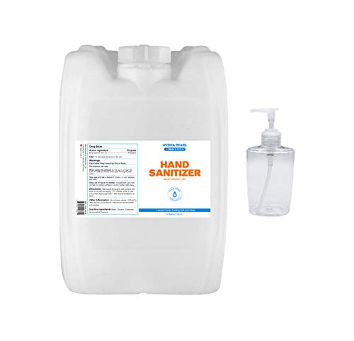 Hydra Pearl Hand Sanitizer Gel - 70% Alcohol - Unscented - 5 Gallon (18.9 L) - Bulk Refill Size - (1-Pack With Spigot) + Free 10 oz. Refill Bottle - Made in USA