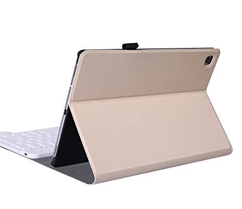 YGoal Tastatur Hülle für Galaxy Tab A7, QWERTZ Layout Ultra-Dünn Hülle mit 7 Farben Hintergrundbeleuchtung Abnehmbarer Deutsches Tastatur für Samsung Galaxy Tab A7 10.4 2020 SM-T500, Gold