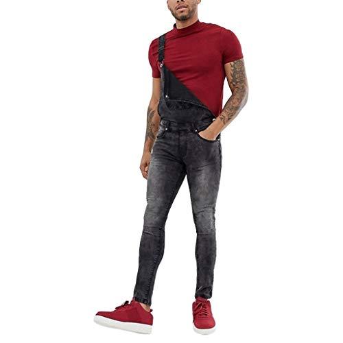 STRIR-Ropa Peto Corte Ajuste Holgado Pantalón Chandal Hombre Mono Vaquero Mezclilla Jumpsuit Casual Pantalones con Agujeros Suelto para Hombre Roto con Peto Tirante con Bolsillos