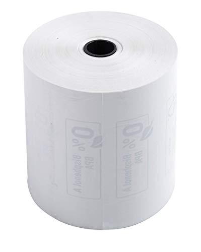 Exacompta - Réf. 43819E - Boite de 10 bobines pour tickets de caisse 80x80 mm - 1 pli thermique 48g/m2 sans BPA. - Métrage (+ ou - 2m) : 76 m.