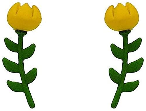 OUHUI Pendientes Hechos a Mano Pendientes Colgantes Pendientes Femeninos de Flores Pendientes Pequeños de Temperamento Elegante Joyas para Niña Y Mujer Exquisito