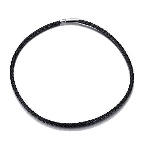 LDGR Cordón de Cuero de los Hombres Gargantilla 20' Negro Cuerda Trenzada fabricación de la joyería del Corchete del Acero Inoxidable (Metal Color : NC147)