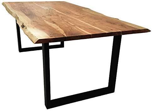 SAM Baumkantentisch 240x100 cm Quarto, Esszimmertisch aus Akazie, Holz-Tisch mit schwarz lackierten Beinen