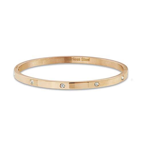 inSCINTILLE Damen Armreif Armband aus Edelstahl mit Zirkonen (Rotgold)