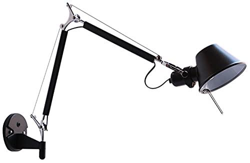 Lámpara De Pared Industrial Mecánica De Metal Negro Con Interruptor, Lámpara De Pared Ajustable Con Brazo Oscilante De Brazo Largo, Iluminación De Pared, Aplique De Pared, Estudio, Sala De Estar