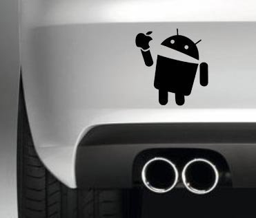 ANDROID EATS APPLE CAR BUMPER STICKER VAN JDM DECAL PHONE DECAL GRAPHIC
