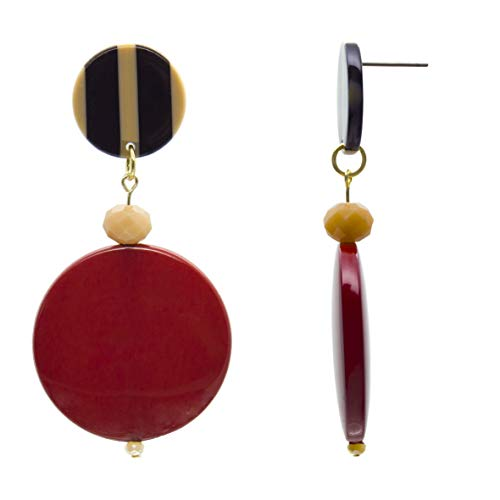 la Brillery Red Colored Double Round Disc Shaped Drop Dangle Earrings...
