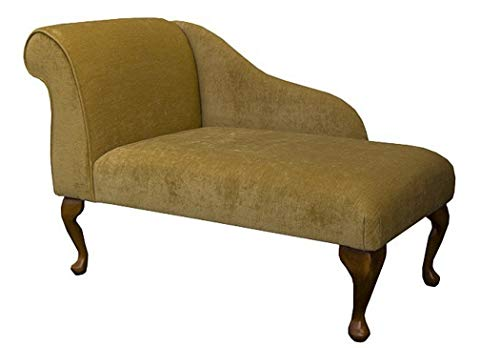 "41"" Small Chaise Longue Lounge Sofa Bench Seat Chair Corn Fabric Queen Anne or Straight Tapered Leg UK"