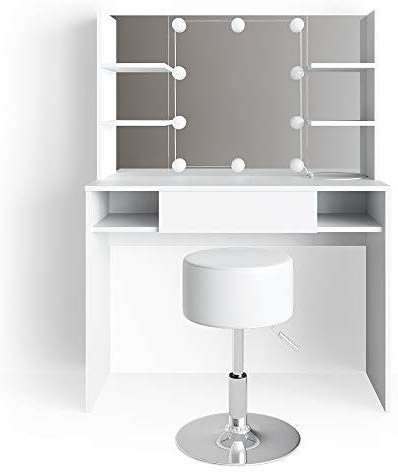 Vicco LED Schminktisch Daenerys Weiß Frisiertisch Frisierkommode Spiegel Hocker (Schminktisch + Hocker + LED)