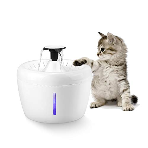 Ciconira Cat Water Fountain, Pet Drinking Dispenser 2.5L Super Quiet Dog Watering Fountains with Filter LED Light for Dogs, Cats, Birds and Small...