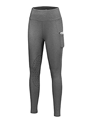 BALEAF Women's Horse Riding Pants Breeches Equestrian Tights Pocket Knee Patch Silocone Grip Active Legging UPF50+ Black M from BALEAF