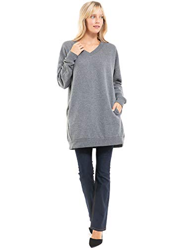 Design by Olivia Women's Casual Oversized Loose Fit V-Neck Long Sleeves Fleece Pullover Sweatshirts Tunic S~3X Medium Grey ML