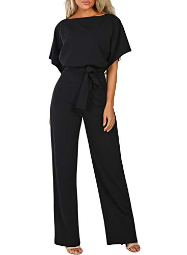 Happy Sailed Damen Langarm O-Ausschnitt Elegant Lang Jumpsuit Overall Hosenanzug Playsuit Romper S-XL, schwarz, Medium (EU40-EU42)