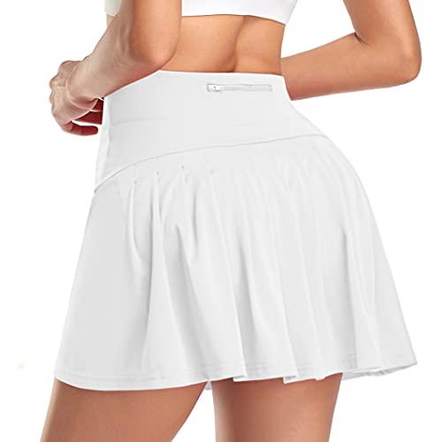 WOWENY Mujer Deportivo Corto Falda Plisada A-Line Mini Skorts de Tenis Golf con Bolsillos Interiores para Shorts,Vestido de Playa para Mujer (Z-Morado, M)