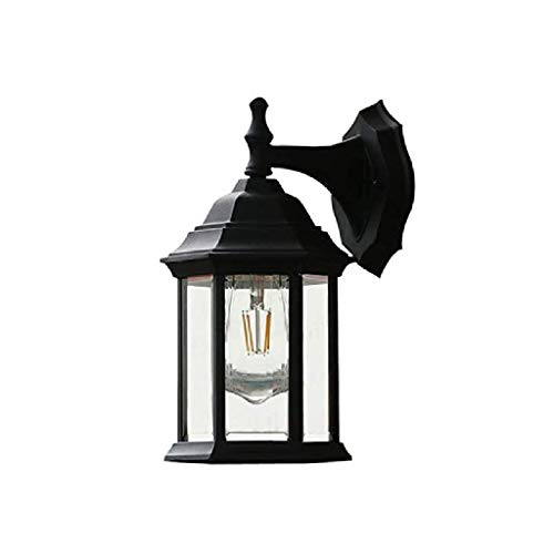GFDFD Outdoor Wall Light Fixture, Exterior Wall Sconce Lantern, Black Finish with Seeded Glass 29 * 15cm
