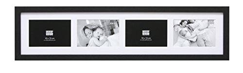 Deknudt Frames S66KC4-10.0X15.0 Bilderrahmen, für 4 horizontale Fotos, Schwarz 72 x 19 x 2 cm
