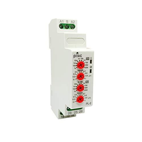 PLIKC PL2 - Temporizador cíclico pausa/trabajo asimétrico de cuadro - 2 contactos de intercambio - 24-240 V AC/DC - PLK032676