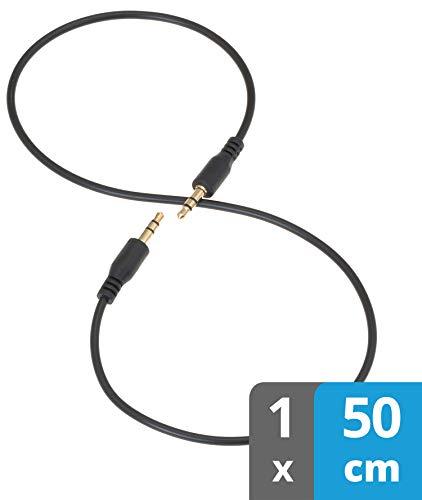 valonic AUX Kabel kurz | 50 cm | 3,5 mm | Audiokabel für Auto oder PC | Klinkenkabel | schwarz | 0,5 m
