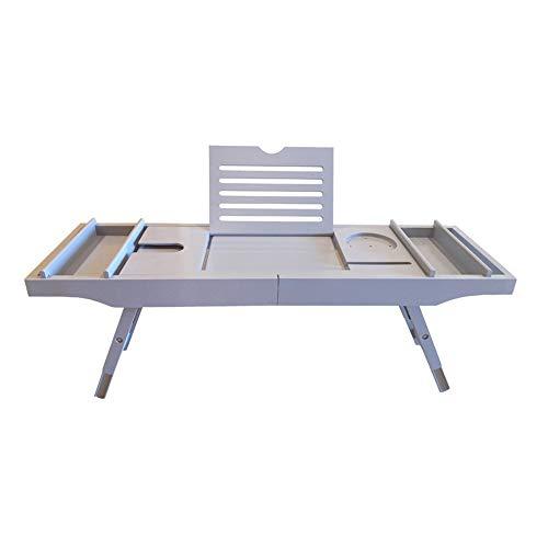 QSHHK Badewannen Ablage & Laptop Bett Schreibtisch - 2 in 1, Badewannentablett mit Skalierbare und Verstellbare Füße, Bambus Badewannenablage Ausziehbar Badewannenbrett,Grau