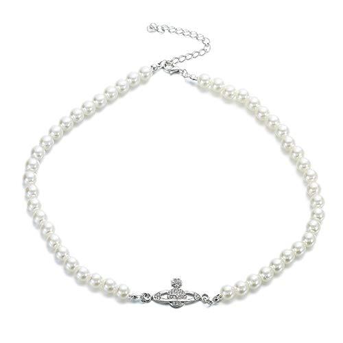 Fnho Chain Necklace for Valentine's Day,Girlfriend Birthday Anniversary,Collar de Perlas de Saturno, Collar de clavícula Femenina-A