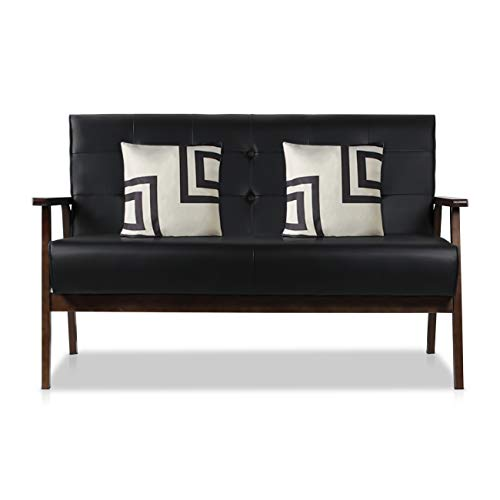 AODAILIHB Modern Fabric Upholstered Wooden 2-Seat Sofa, Sleek Minimalist Loveseat, Sturdy and Durable Double Sofa. Gift 2 Pillowcases (Black)