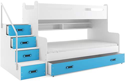 Interbeds Lit 3 Places Max 3 200x80 et 200x120 avec Matelas sommier tiroir et escalier (Blanc+Bleu)